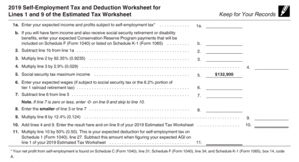 Self Employment Tax 1040 ES Form